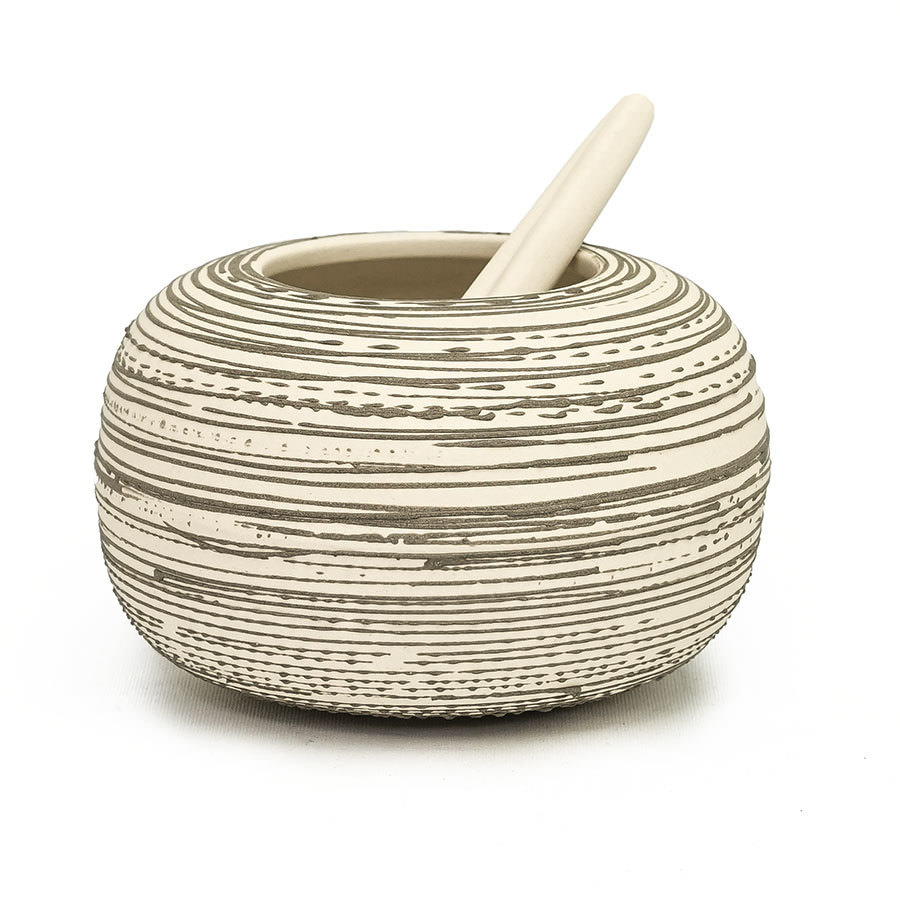 Kula Salt Cellar - Cream with Slate Accent