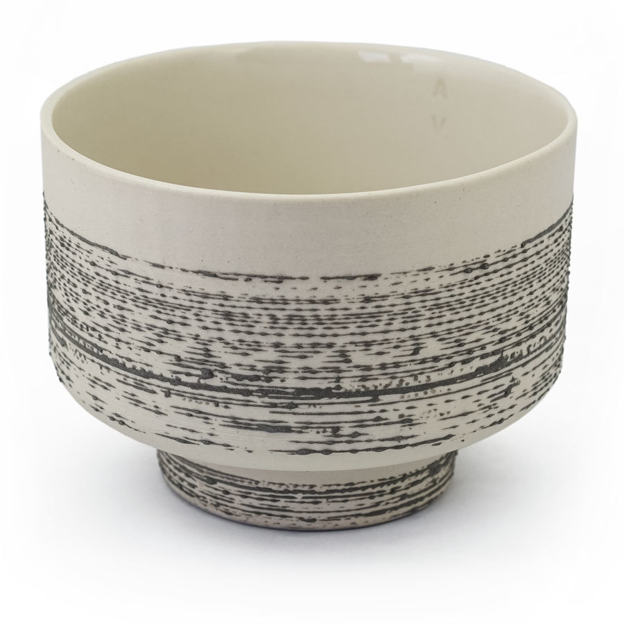 Liten Matcha bowl - Cream with slate accent
