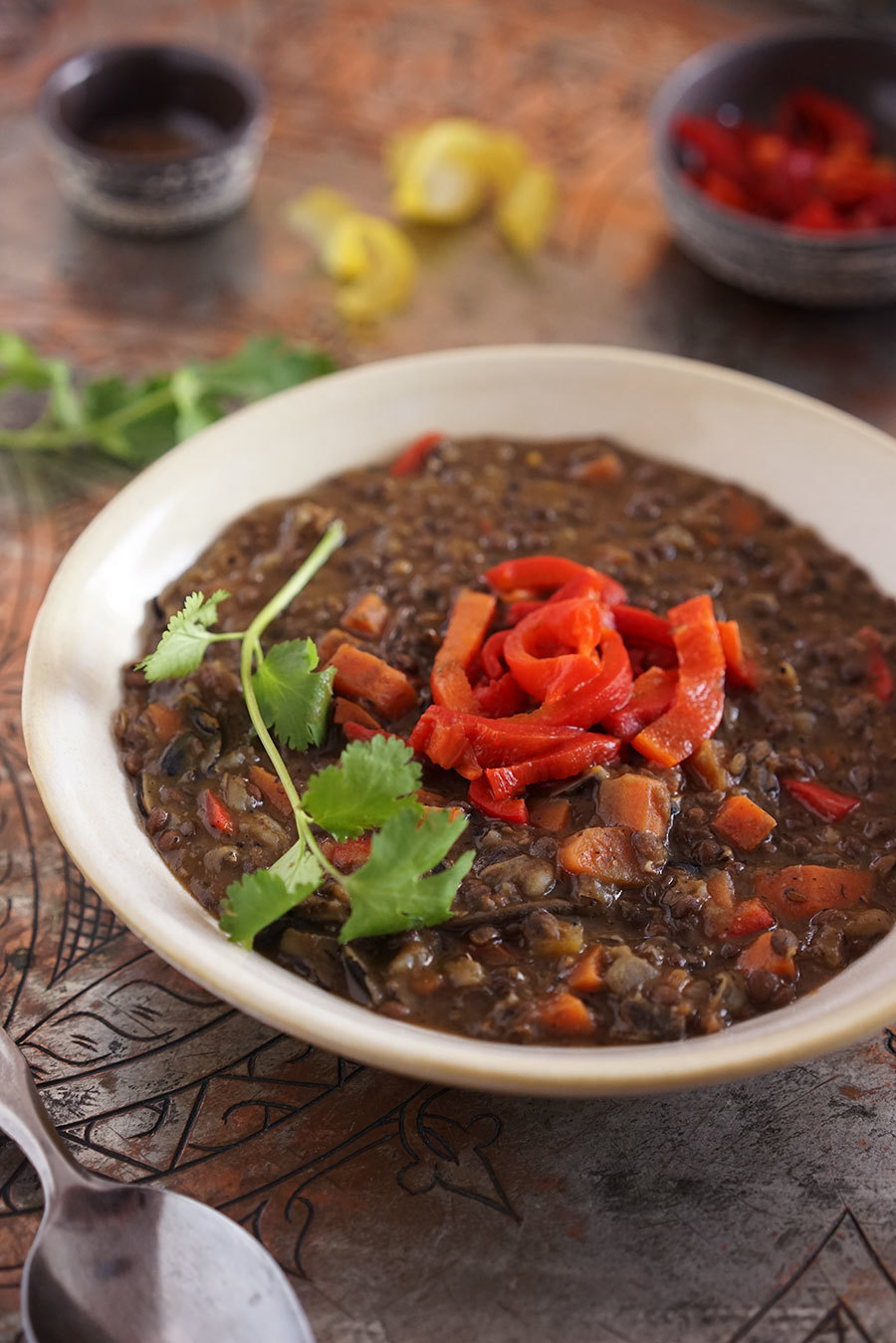Black Lentil Wild Rice And Roasted Bell Pepper Soup