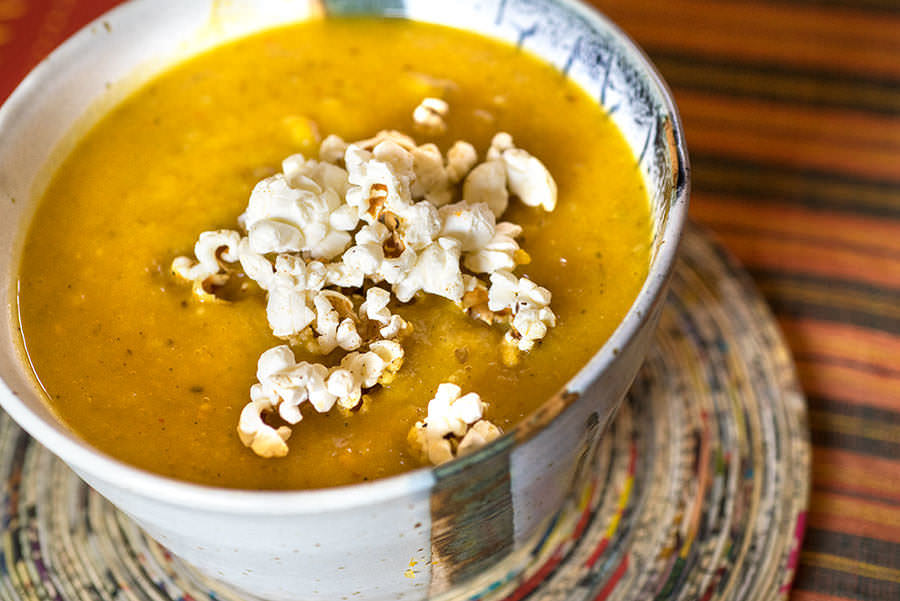 Butternut Soup With Popcorn