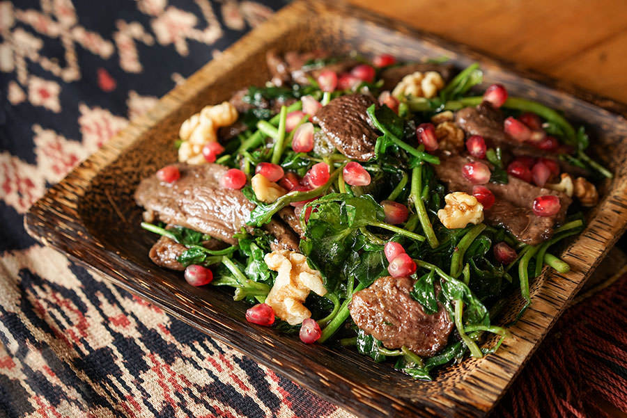 Duck with Watercress and Pomegranate