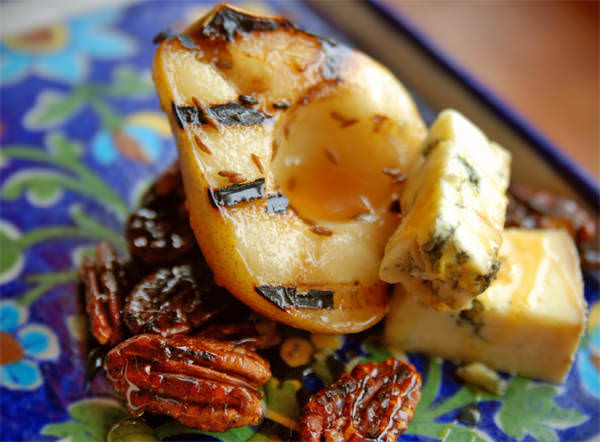 Cumin Grilled Pears with Stilton and Caramelized Pecans