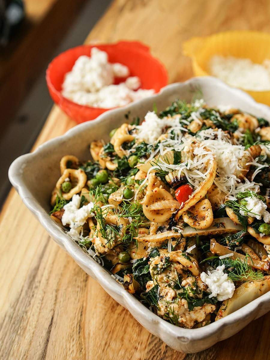 Fennel Kale And Green Pea Pasta
