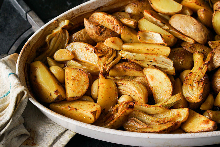 Gorria Pepper Roasted-Potatoes with Fennel