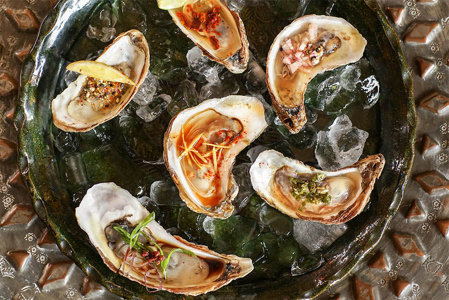 Raw oyster garnishes