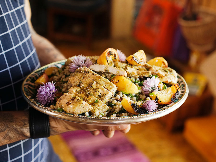 Grilled Peach Chicken And Barley Salad