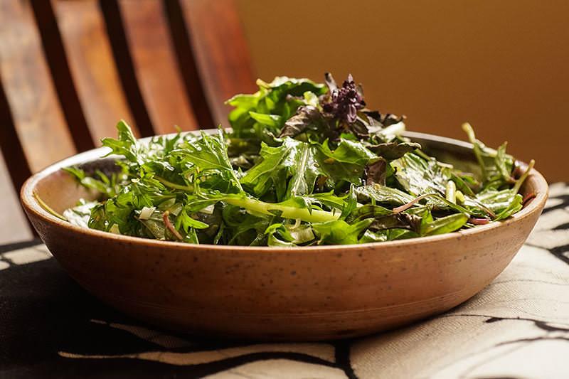 Mizuna salad with sansho