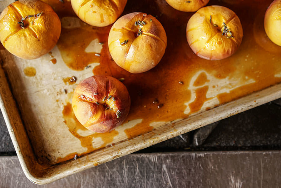 Roasted Peaches with Lavender