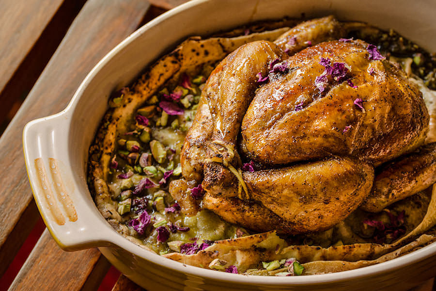 One thousand and one nights roast Cornish hen