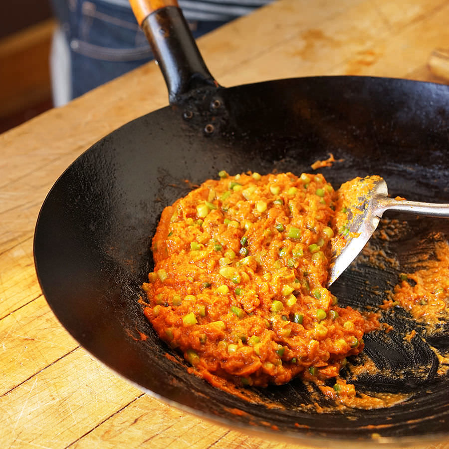 Refried Squash with Garlic Scapes