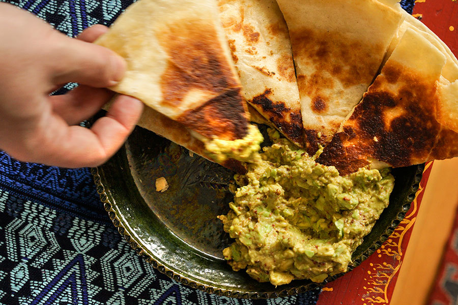 Roasted Cumin Quesadilla With Guacamole