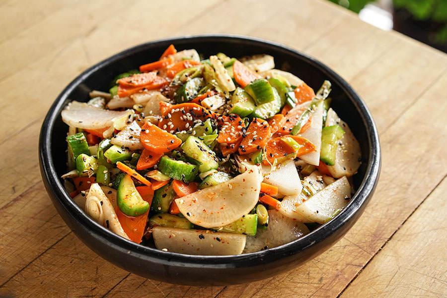 Cucumber, carrot and daikon salad