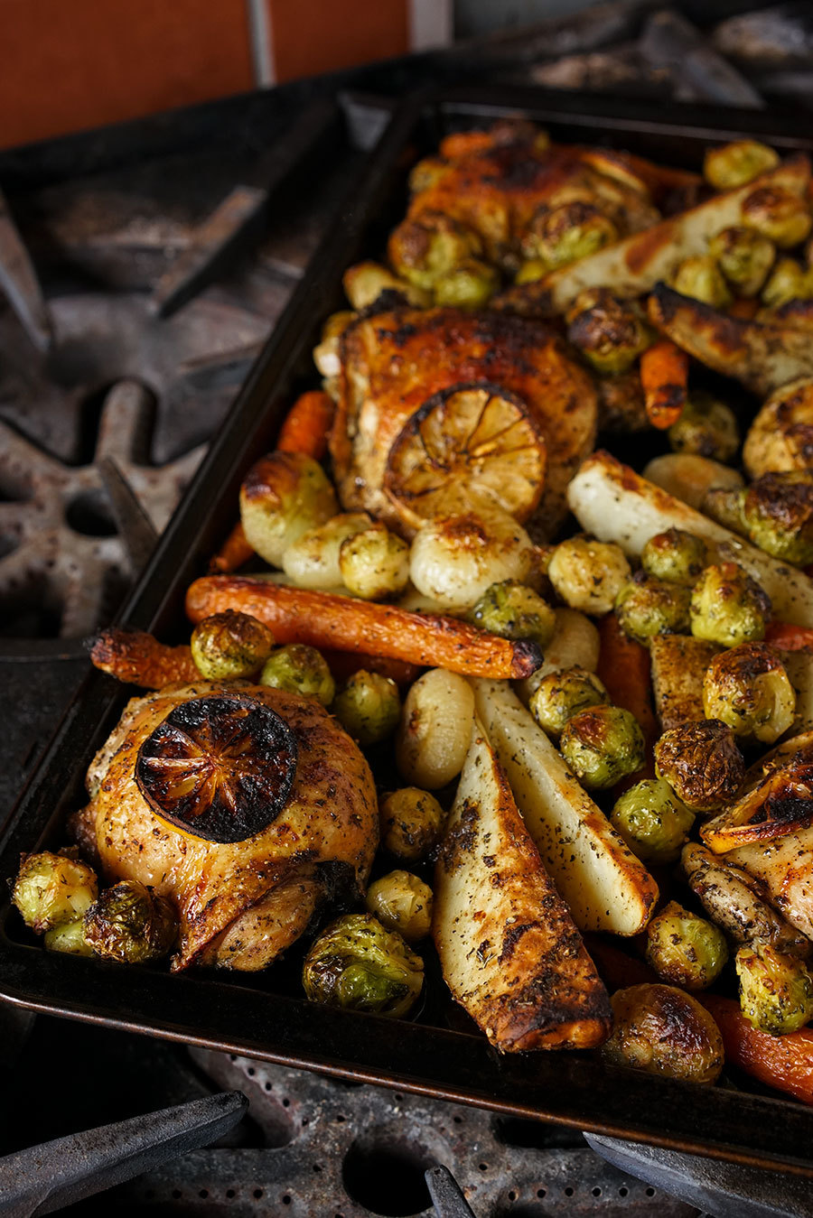 Sheet Pan Chicken And Vegetables With Tzatziki Spices
