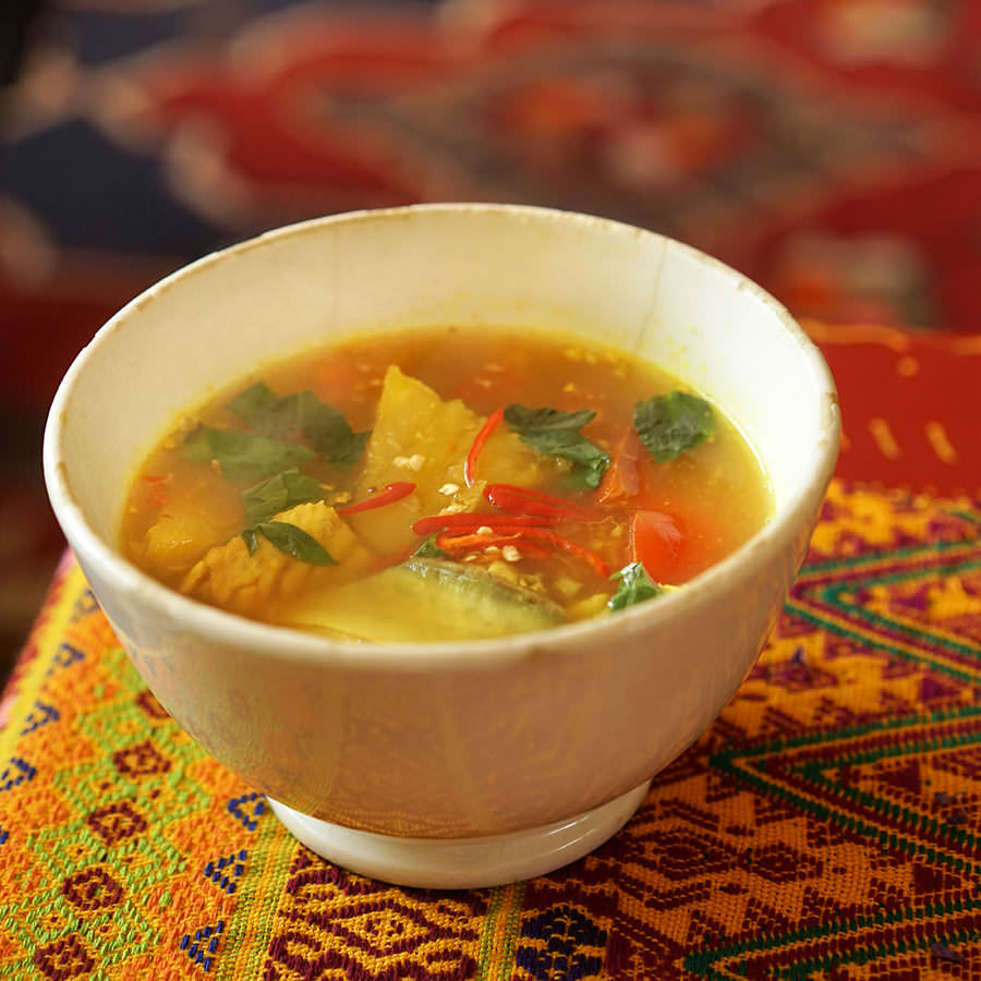 Fish and pineapple soup
