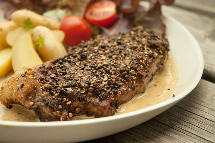 Steak au poivre with cognac cream sauce