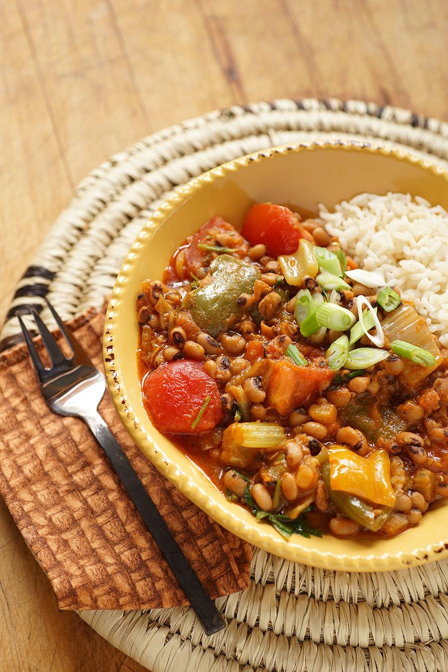 Stewed Cajun Vegetables And Black Eyed Peas