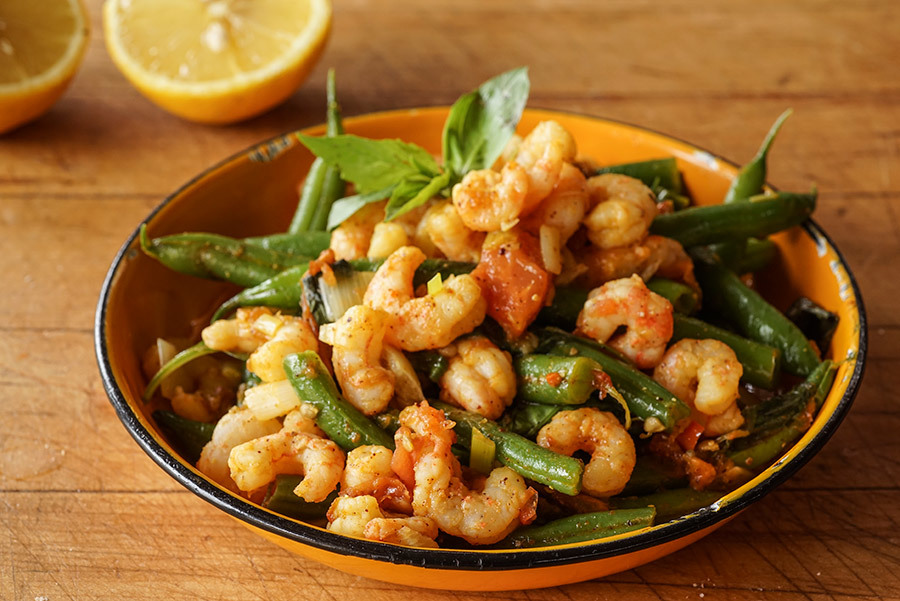 Stir Fried Shrimp With Green Beans And Tomatoes