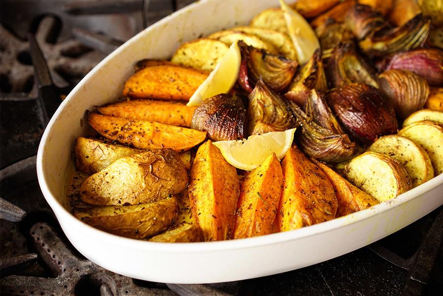 Sweet Potato And Turnip Tian With Panch Phoran