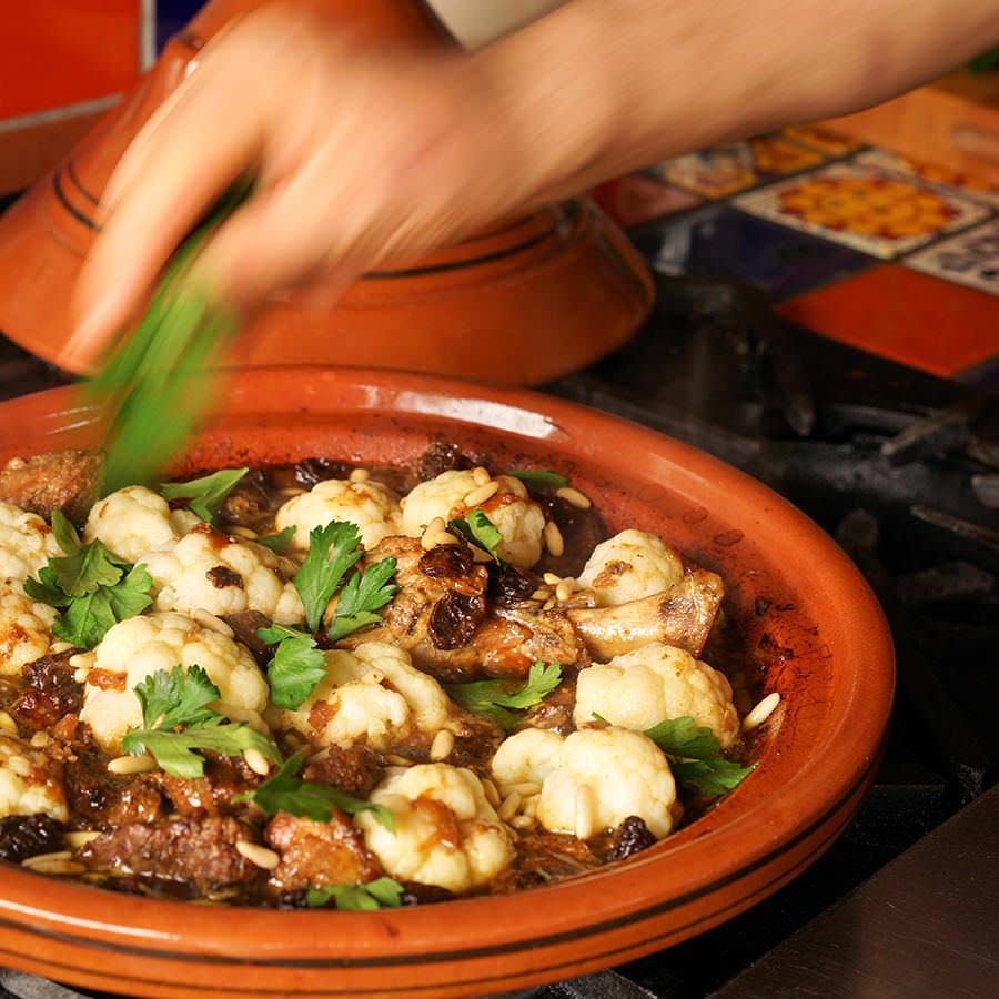 Lamb, Raisin, Cauliflower and Pine Nuts Tajine