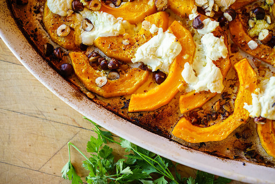 Roast Squash with Goat Cheese