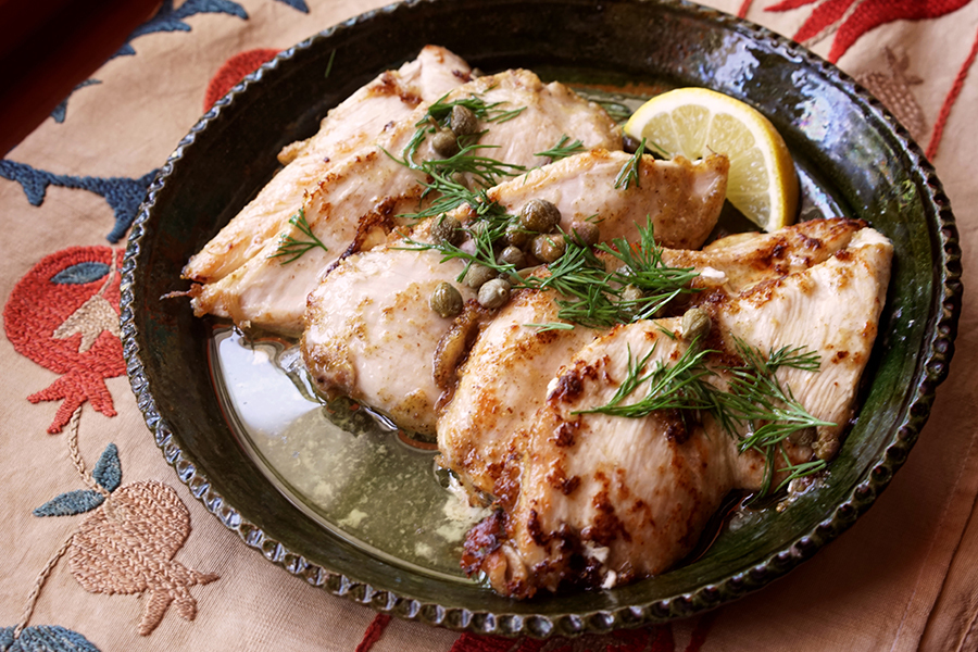 Lemon and caper chicken cutlets