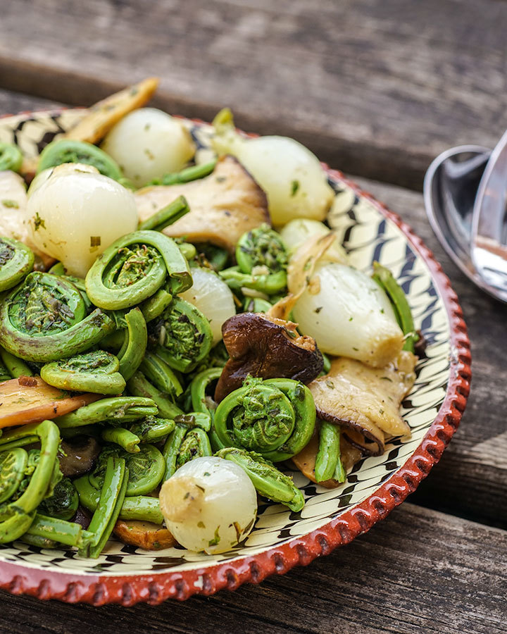 Fiddleheads with Mushrooms and Quebec Herbs