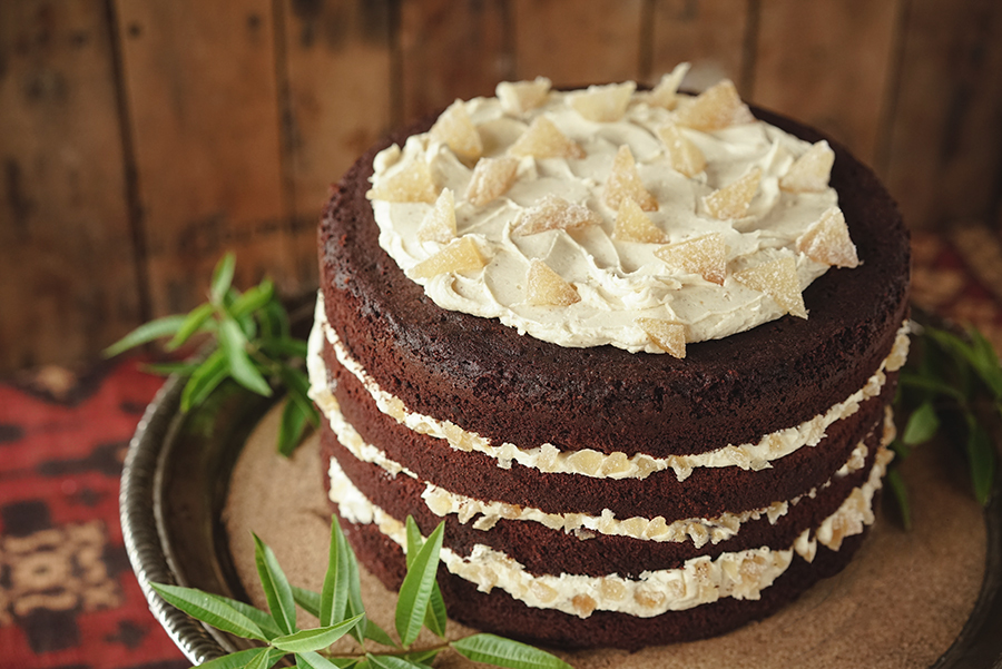 Chocolate Cake with Ginger Icing