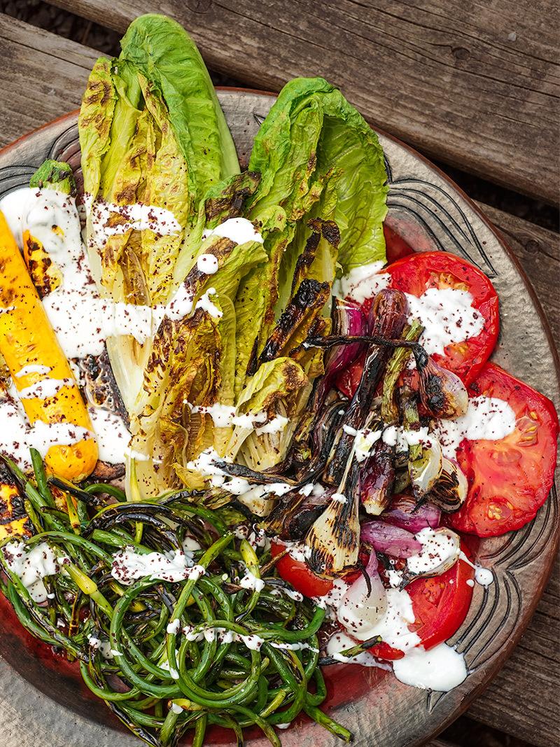 Grilled Lettuce and Sumac Summer Vegetables