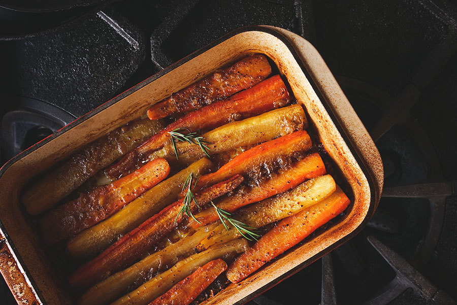 Roasted maple syrup carrots