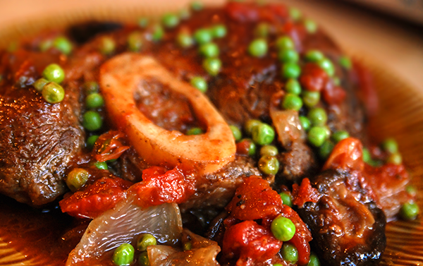 Osso Buco with peas