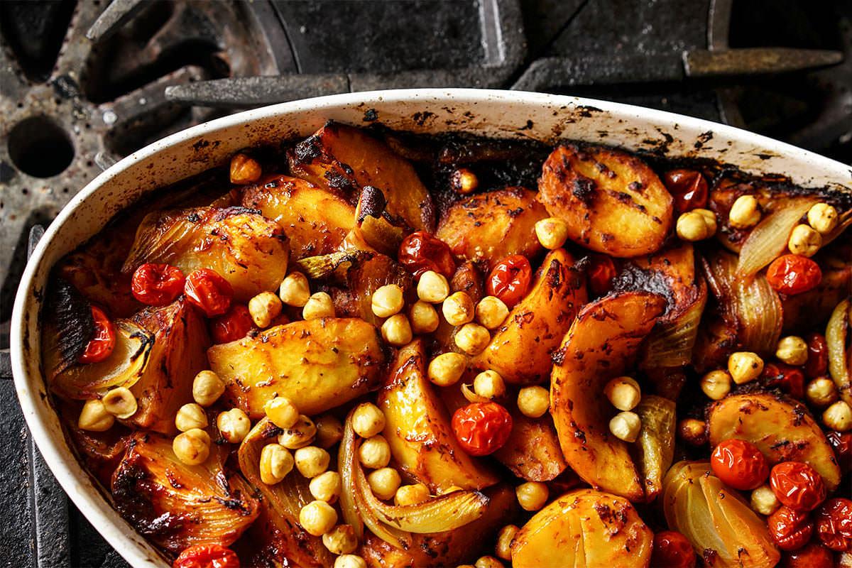 Mixed herbs and hazelnut roast potatoes