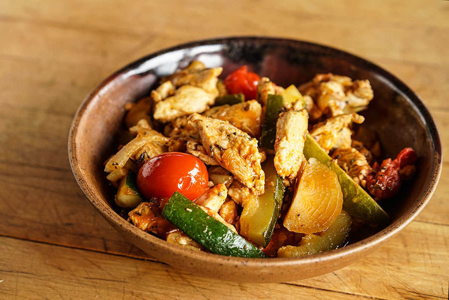 Provence-style chicken stir-fry