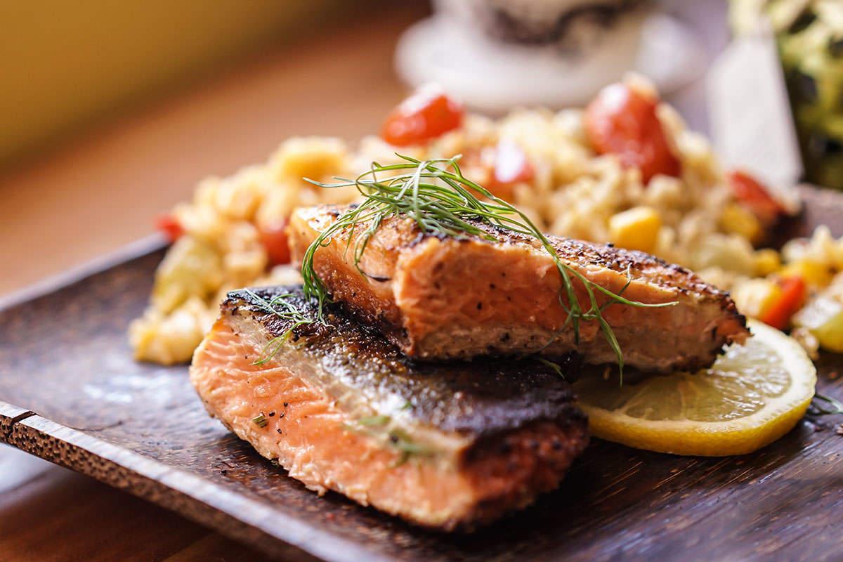 Crispy juicy salmon