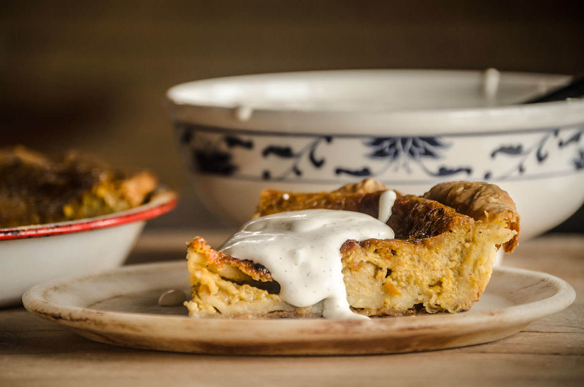 Pumpkin spice pie with maple syrup