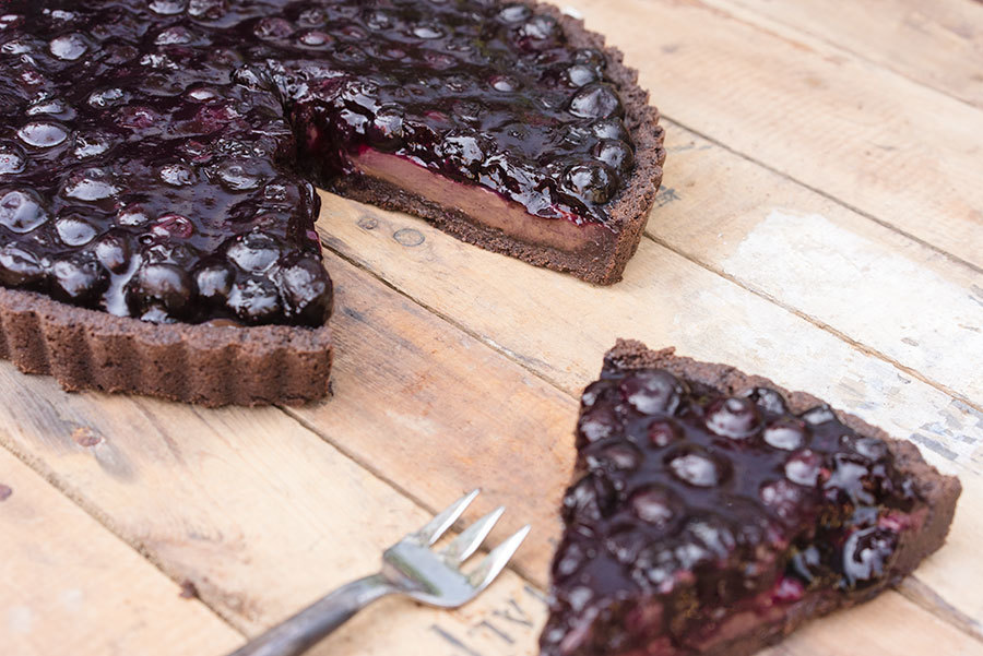 Buckwheat, dark chocolate, blueberry tart
