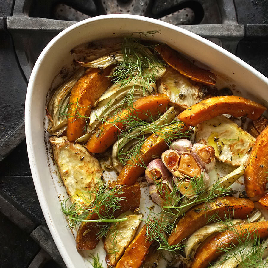 Squash, Fennel and Celery Root Tian