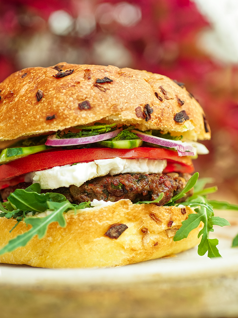 Lamb hamburger with feta and mint